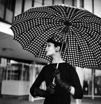 vintage umbrella black and white audrey hepburn elegant optical