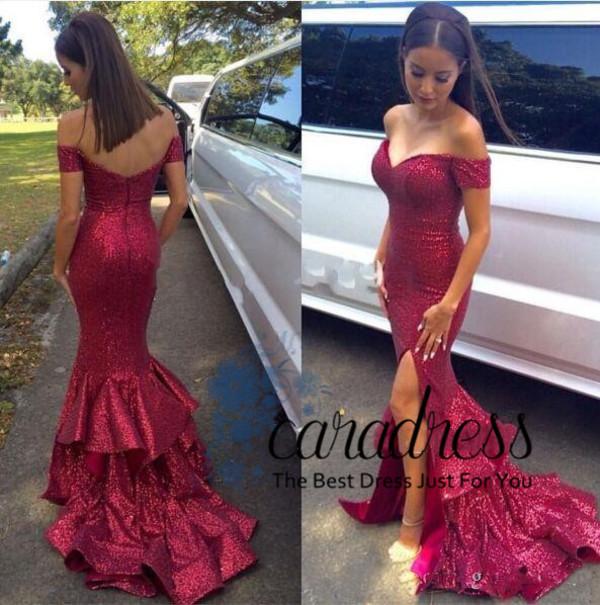 Exquisite Sequin Mermaid Prom Dresses Split Evening Dresses Long
