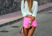 shorts,pink,neon,summer,tumblr clothes,tumblr outfit,blouse,bag
