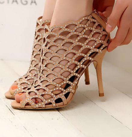 Fashion shining woven rhinestone high heel shoes