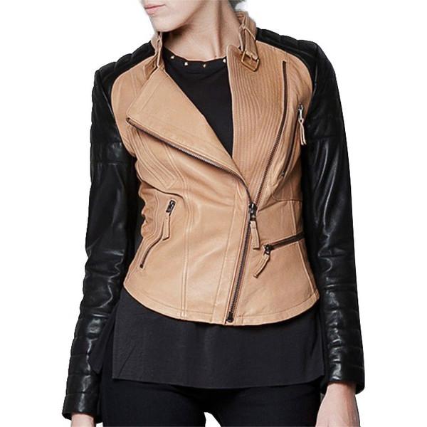 Black & tan moto jacket