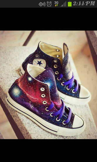 shoes pink high top sneakers converse galaxy print purple black