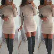 dress,off the shoulder dress,fall dress,nude dress,suede boots,thigh high boots,short fitted dresses,shoes,winter boots,boots,beige,cute,urban,fall outfits,sexy,midi dress,pretty,girly,tumblr,instagram,winter dress,nude,zaful,sweater,sweater dress,soft,knee high boots,beige dress,camel dress,thigh-high boots,baggy,smooth,grey boots,sexy dress,sexy boots,love,trendy,tan dress,long sleeve dress,sweter type,cozy,basic,bodycon nude dress,heels,grey,grey dress,bodycon dress,mini dress,long sleeves,style,cute outfits,outfit
