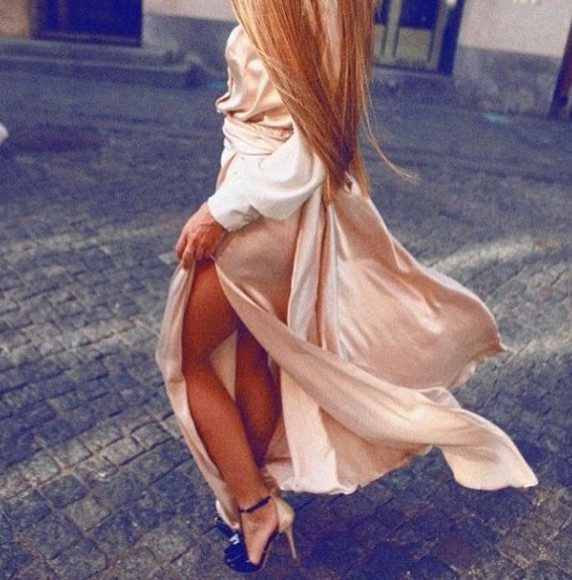 dress prom dress silk flowy delicate elegant long sleeve dress side slit nude silk fiftyfootfashionista