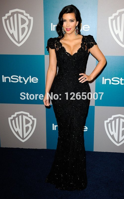 Aliexpress.com : Buy Kim Kardashian V Neck Short Sleeves Lace Sequins Beaded Black Mermaid Celebrity Dress Special Occasion Dress Elegant from Reliable dress jeans for women suppliers on SFBridal