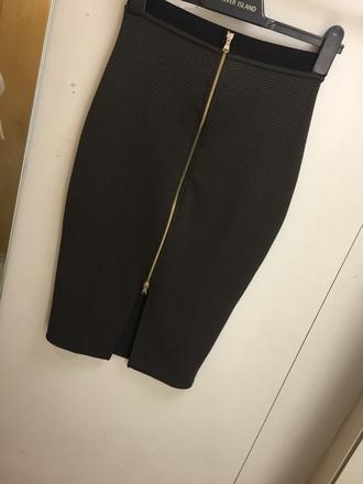 top skirt midi skirt khaki tight skirt zip