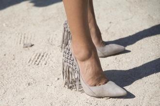 shoes stilettos tassel point toe shoes fringe shoes
