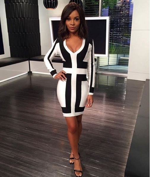 2414411f0d526a Long Sleeve Colorblock Bandage Dress Black White