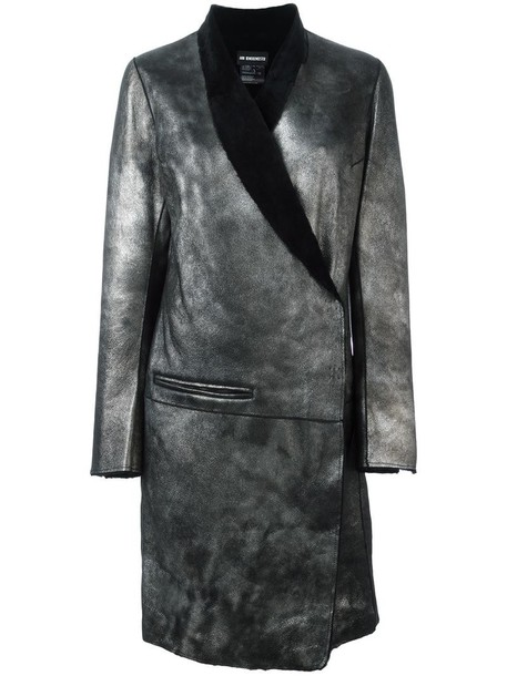 ANN DEMEULEMEESTER coat fur women leather cotton grey metallic