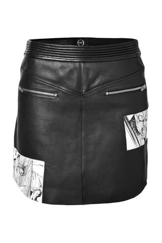 skirt mini manga leather print black