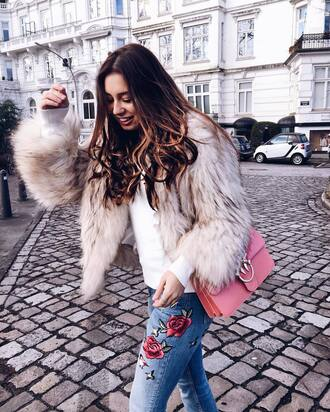 jacket tumblr fur jacket white fur jacket faux fur jacket bag pink bag sweater white sweater denim jeans blue jeans embroidered embroidered jeans brunette