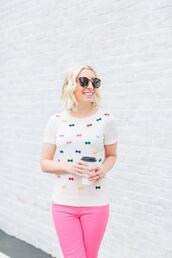 lemon stripes,blogger,jeans,sweater,shoes,sunglasses