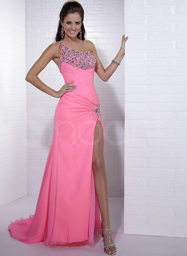 dress one-shoulder chiffon dress for wedding party/ formal evening and prom have sweep train and embelished with beadings