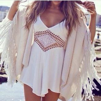 summer dress cut-out girly light flowy dress comfortable dress dress white dress cut-out dress boho dress boho chic white beach bohemain hobo sunny skin