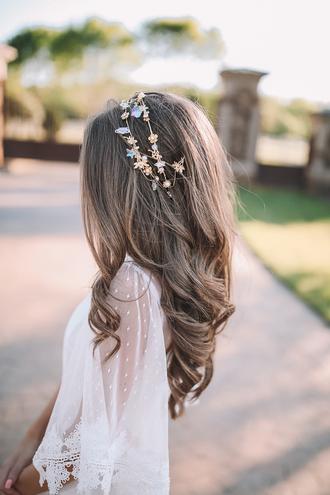hair accessory flower crown crown hair crown white top white blouse