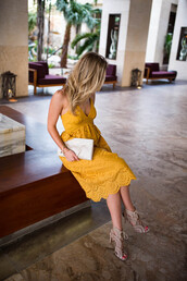 katie's bliss - a personal style blog based in nyc,blogger,dress,bag,shoes,jewels,sunglasses,sandals,yellow dress,clutch,spring outfits