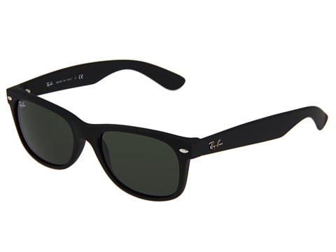 Ray-Ban 2132 New Wayfarer 55 Black Rubber Frame/Green Lens - Zappos ...