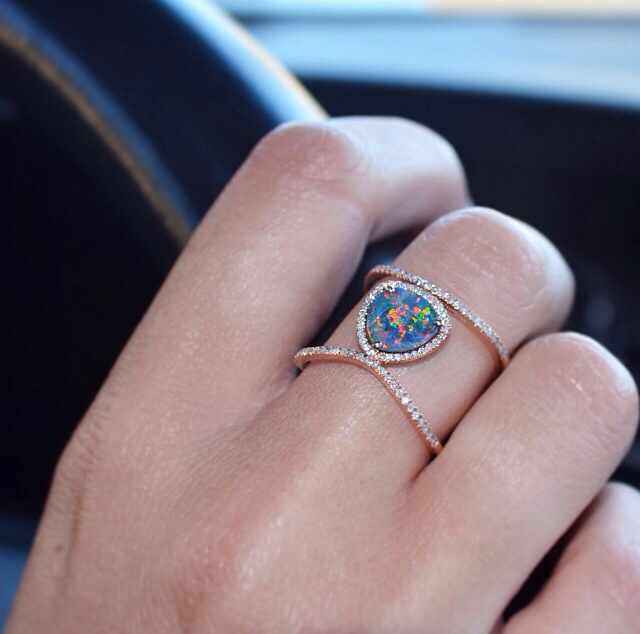 rose gold and diamond Petite Triangle Double Band Opal ring – Luna
