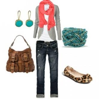 flats bracelets scarf pink scarf grey cardigan capris earrings
