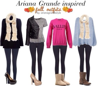 sweater ariana grande jeans shoes scarf