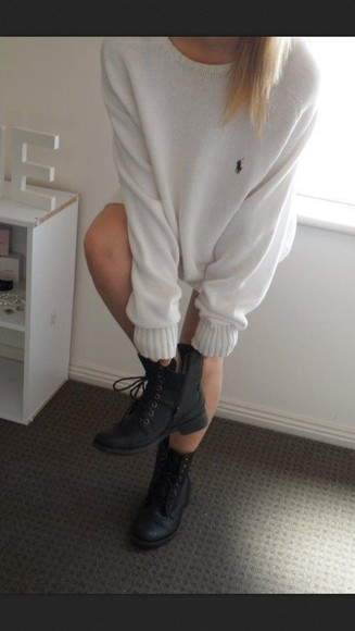 sweater white lovely pepa winter sweater boots combat boots ralph lauren polo polo oversized white sweater ralph lauren shoes