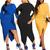 Sexy Women Asymmetrical Plus Size Party Evening Dress Long Sleeve Solid Clubwear