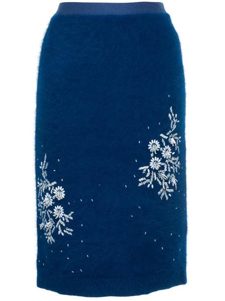 Cityshop skirt midi skirt embroidered women midi floral blue knit