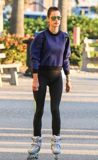 sweater sweatshirt alessandra ambrosio leggings sportswear rollerblade roller skates shoes