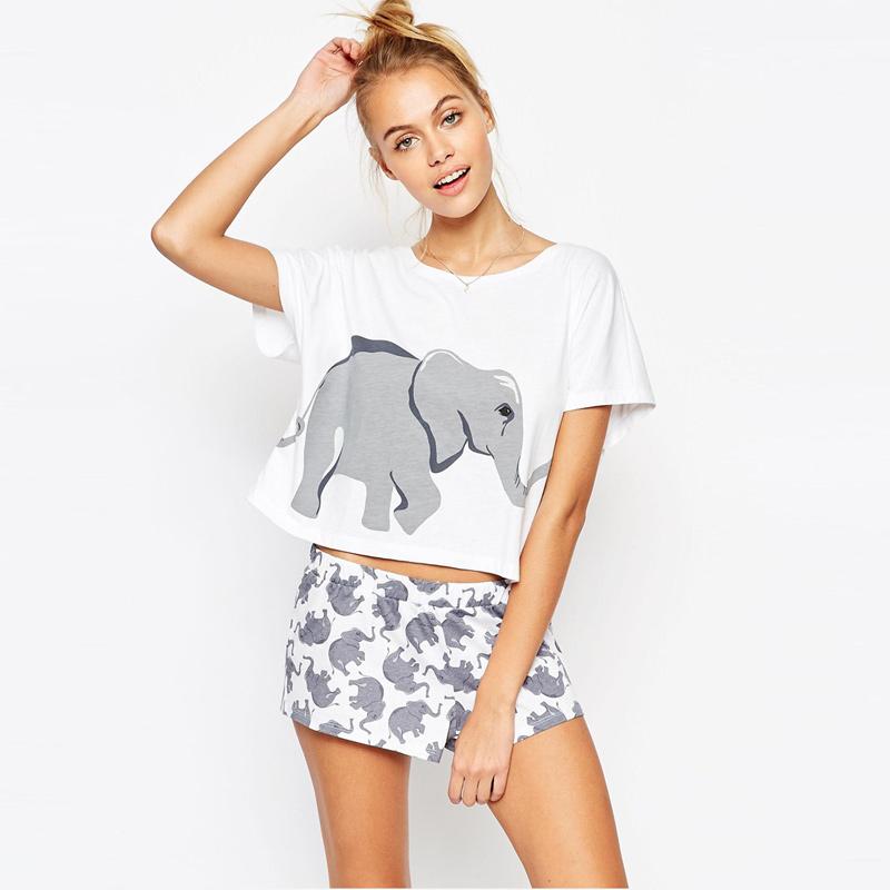 Cute elepant printed white short t shirt top top T shirt and shorts pyjamas