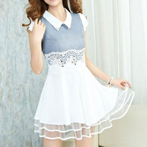 fashion hollow out lace diamond spliced cowboys dress