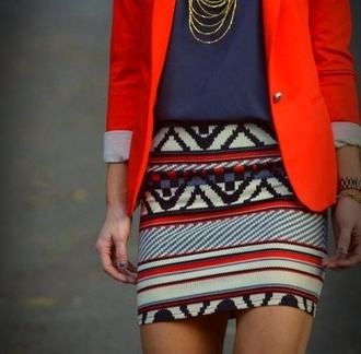 skirt aztec skirt jewels gold necklace jacket red blazer royal blue aztec clothes red blazer bright color bright blazer navy blouse navy blouse good chain necklace necklace mini skirt aztec print skirt body con skirt jeans geometric tribal pattern jewelry red skirt tribal skirt creme skirt striped skirt orange colorful color/pattern outfit set body skirt red patterned red jacket chic style vogue top outfils colorful skirts colorful outfils vogue magazine jewerly layered accessories shirt fashion t-shirt love aztec print mini skirt orange blazer navy top blue streetstyle navajo kilim outfit idea