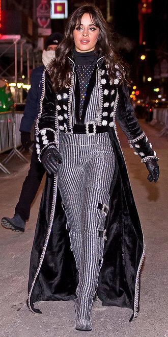 pants coat camila cabello boots glitter turtleneck top