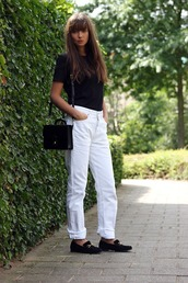 mode d'amour. edited by anne-miek kessels,blogger,shirt,shoes,bag,white jeans,white pants,black top,black bag,flats,black t-shirt,shoulder bag,black flats,gucci