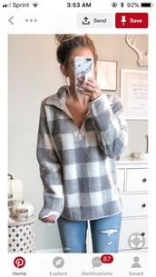 sweater,quarter zip,plaid,soft,jacket,grey,white,baseball fleece jacket,fall sweater,grey white,fluffy,fleece jackets