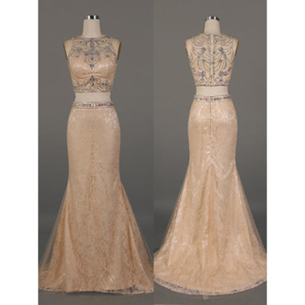 dress prom prom dress beige beige dress love lovely fabulous gorgeous pretty sweet chic two-piece two piece dress set vogue amazing cute cute dress special occasion dress floor length dress princess dress bridesmaid fashion trendy fashionista fashion vibe style stylish sexy sexy dress sparkle shiny pattern evening outfits evening dress gold long prom dress long evening dress maxi maxi dress long long dress