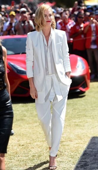 blouse pants jacket blazer charlize theron all white everything white