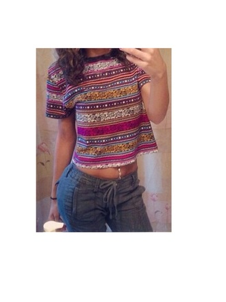 crop tops pattern pink belly button ring blue cargo pants
