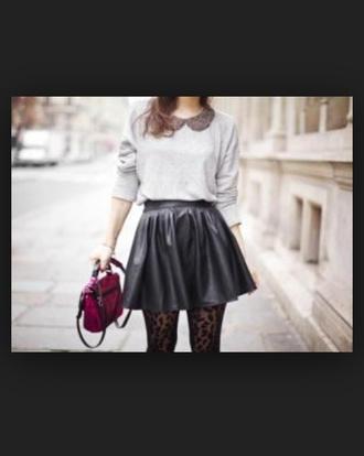 black grey sweater bag skirt street fashion tights blacklace leather skirt dress