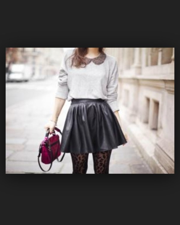 black grey sweater bag skirt streetstyle tights black lace leather skirt dress