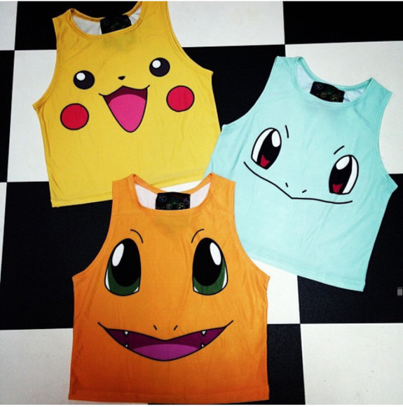 shirt pokemon pikachu crop tops