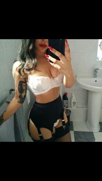 suspenders stockings style black tumblr outfit instagram underwear top