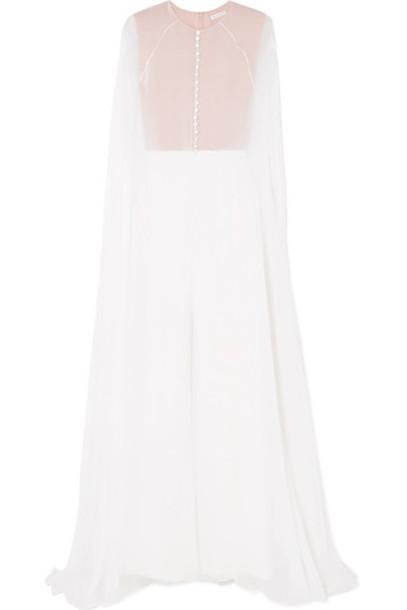 Reem Acra jumpsuit chiffon white silk