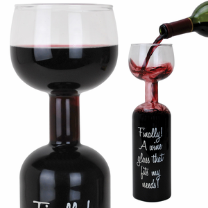 Giant wine bottle wine glass: drink straight from the bottle!
