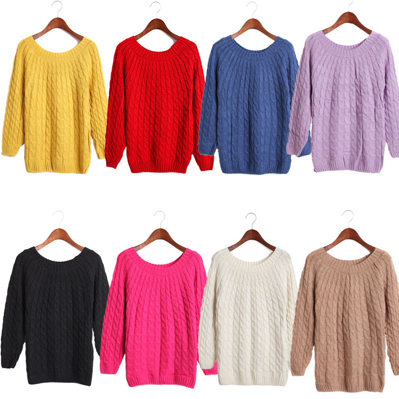 Colorful Women Girl Long Sleeve Knit Sweater Loose Casual Pullover Knitwear Tops