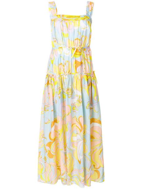 Emilio Pucci dress maxi dress maxi women silk yellow orange