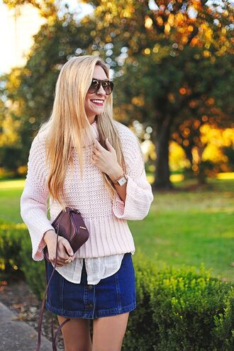 sweater bell sleeve sweater bell sleeves pink sweater turtleneck turtleneck sweater mini skirt skirt denim skirt button up button up denim skirt button up skirt bag burgundy sunglasses