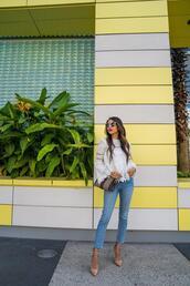 kqns style,blogger,top,jeans,shoes,bag,sunglasses,lace top,gucci bag,pumps