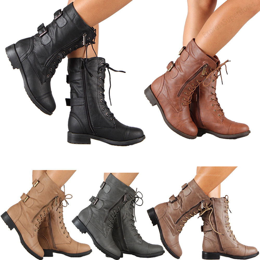 0246d62a07662 Womens Combat Military Boots Lace Up Buckle New Women Fashion Boot Shoes  Size