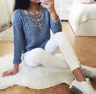 sweater sneakers white tumblr cute necklace top cool gurlie girly girl blue white jeans tumblr outfit tumblr girl tumblr clothes tumblr shirt fashion toast fashion vibe fashion jewels jewelry statement necklace silver silver necklace statement