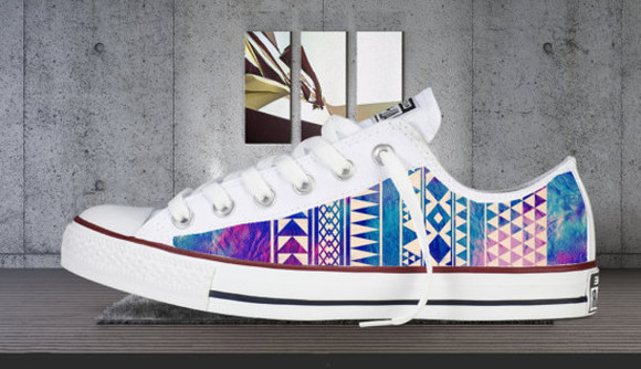 aztec vintage style design converse low tops galaxy print new handmade chills cool